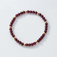 Vòng tay đá Garnet phối bi mạ vàng size hạt 6mm mệnh hỏa, thổ - Ngọc Quý Gemstones