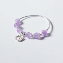 Vòng tay đá thạch anh tím ngọc charm hoa 10 cánh mệnh hỏa, thổ - Ngọc Quý Gemstones
