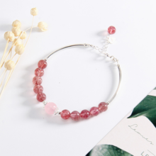 Vòng tay đá thạch anh dâu phối charm ống bạc mệnh hỏa, thổ - Ngọc Quý Gemstones