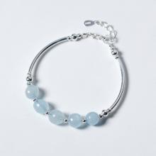 Vòng tay bạc đá Aquamarine mệnh thủy, mộc - Ngọc Quý Gemstones