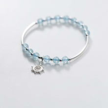 Vòng tay đá Aquamarine phối charm bánh lái mệnh thủy, mộc - Ngọc Quý Gemstones