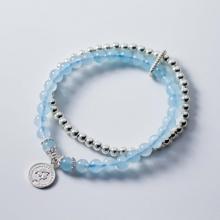 Vòng 2 line đá Aquamarine phối bi bạc thủy, mộc - Ngọc Quý Gemstones