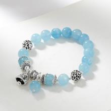 Vòng 2 tay đá Aquamarine phối charm chuông bạc size hạt 10mm Thủy, Mộc - Ngọc Quý Gemstones