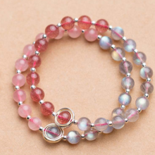 Vòng tay đá thiên nhiên 2 màu charm bạc vòng tròn (Hồng dâu -Xám) - Ngọc Quý Gemstones