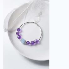 Vòng tay bạc đá thạch anh tím phối Aquamarine - Ngọc Quý Gemstones