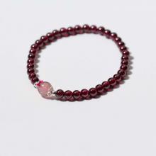 Vòng tay đá Garnet phối thạch anh dâu size hạt 6mm - Ngọc Quý Gemstones