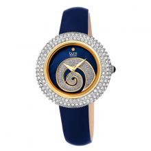 Đồng hồ thời trang nữ Burgi BUR209BU xanh lá phối đá warovski xoắn ốc dây da 36mm