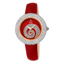 Đồng hồ thời trang nữ Burgi BUR209RD xanh lá phối đá warovski xoắn ốc dây da 36mm