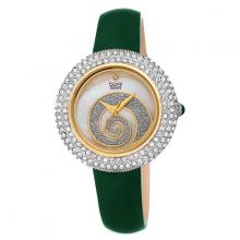 Đồng hồ thời trang nữ Burgi BUR209GN xanh lá phối đá warovski xoắn ốc dây da 36mm