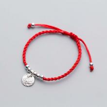 Combo 2 vòng thắt dây đỏ charm bạc treo hoa sen - Ngọc Quý Gemstones