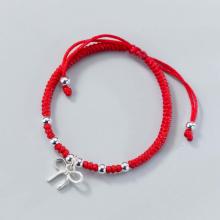 Combo 2 vòng thắt dây đỏ charm bạc treo nơ - Ngọc Quý Gemstones