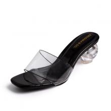 Dép nữ, dép cao gót thời trang Erosska mũi vuông phối mica trong kiểu dáng basic cao 5 cm BM001 (màu đen)