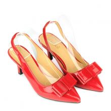 Giày bít mũi nhọn đính nơ SUNDAY CG53 - Màu đỏ