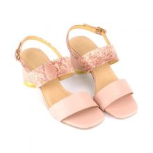 Giày sandal gót trụ họa tiết da rắn SUNDAY DV59 - Màu hồng