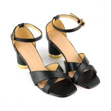 Giày sandal gót trụ quai đan chéo SUNDAY DV60 - Màu đen