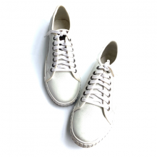 Giày sneaker thể thao nam - Thể thao trắng da bò thật Geleli
