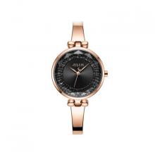 Đồng hồ nữ JA-1228D Julius hàn quốc dây thép (đồng mặt đen )