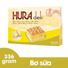 Bánh bông lan Hura Deli bơ sữa 336 gram Bibica 12 bánh