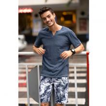 Áo phông nam ngắn tay ( regular fit) màu xanh DGC - WAT1815M