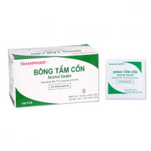Bông tẩm cồn khô Tanaphar (Alcohol Swabs) hộp 100 gói - Sát trùng vết tiêm, vết thương