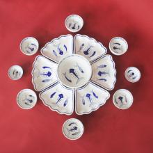 Bộ bát đĩa hoa mặt trời họa tiết vẽ tay chế tác thủ công tại Bát Tràng