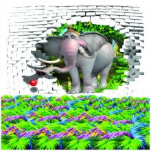 Tranh 3D trang trí chú voi con