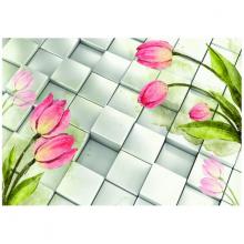 Tranh 3D trang trí hoa và ô vuông
