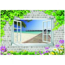 Tranh 3D dán tường biển trời ngoài cửa sổ