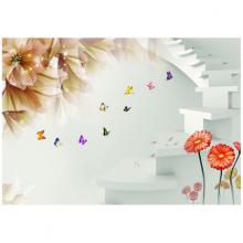 Tranh 3D dán tường cầu thang hoa lá