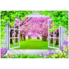 Tranh 3D trang trí tường khung cửa hoa mộng