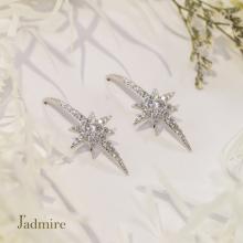 Hoa tai Glamour Star J'admire bạc 925 cao cấp mạ Platinum đính đá Swarovski® trắng
