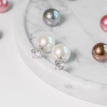 Hoa tai Mise en Pearl J'admire bạc 925 cao cấp mạ Platinum đính Ngọc trai và đá Swarovski Zirconia trắng
