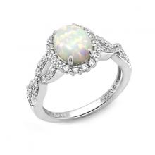 Nhẫn nữ Opal Wave J'admire bạc 925 cao cấp mạ Platinum đính đá Opal và Swarovski Zirconia trắng