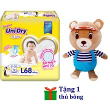 Tặng 1 gấu bông mặc áo sọc - Tã dán sơ sinh Unidry size M76 - size L68