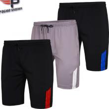 Bộ 3 quần short nam thể thao thoáng mát phối sọc pigofashion qttn01 (xám, sọc xanh, sọc đỏ)
