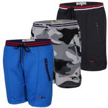 Bộ 3 quần thể thao tập gym vải nỉ thoáng mát qttn03-đen, xanh công, sọc xám