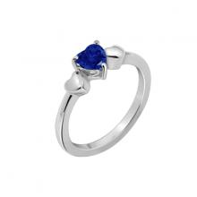 Nhẫn nữ Ba trái tim J'admire bạc cao cấp mạ Platinum đính đá Sapphire Swarovski