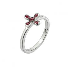 Nhẫn nữ hoa nhỏ 4 cánh J'admire bạc cao cấp mạ Platinum và Black Rhodium  đính đá Ruby Swarovski