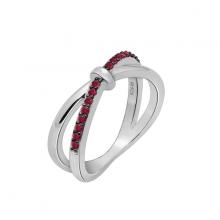 Nhẫn nữ Infinity một hàng đá J'admire bạc cao cấp mạ Platinum và Black Rhodium  đính đá Ruby Swarovski size 5