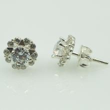 Hoa tai bạc đính đá - Opal - E19