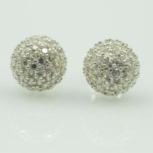 Hoa tai bạc đính đá - Opal - E4