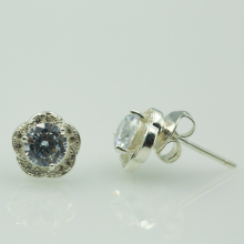 Hoa tai bạc đính đá - Opal - E5