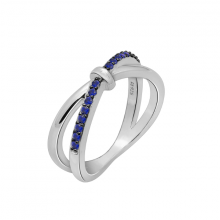 Nhẫn nữ Infinity một hàng đá J'admire bạc cao cấp mạ Platinum và Black Rhodium đính đá Sapphire  Swarovski