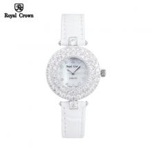 Đồng hồ nữ Chính Hãng Royal Crown 3624-ST-W ( dây da trắng )