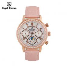 Đồng hồ nữ Chính Hãng Royal Crown 6422-ST-RG-P ( dây da hồng vỏ vàng hồng)