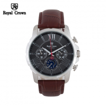 Đồng hồ nam Chính Hãng Royal Crown 8425-ST-BD-BR ( dây da nâu mặt đen)