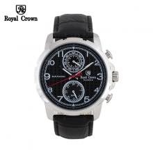 Đồng hồ nam Chính Hãng Royal Crown 8426-ST-BD-B ( dây da đen mặt đen)