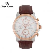 Đồng hồ nam Chính Hãng Royal Crown 8435-ST-RG-BR ( dây da nâu vỏ vàng hồng )