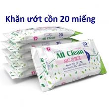 Combo 4 gói khăn ướt cồn sạch khuẩn Unifresh Alcohol 20M - 20 tờ x 4 gói