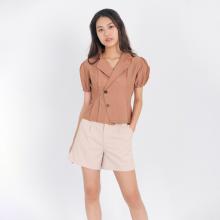 Áo kiểu thời trang Eden dáng ngắn cổ vest xếp li - ASM085